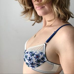 Other - vintage 90s daisy mesh cotton bra blue and white